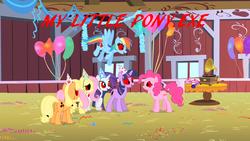 Size: 1024x576 | Tagged: safe, artist:ponyville91, edit, edited screencap, screencap, applejack, fluttershy, pinkie pie, rainbow dash, rarity, twilight sparkle, earth pony, pegasus, pony, unicorn, party of one, 2spooky, mane six, ponies, unicorn twilight, you tried