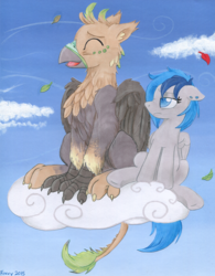 Size: 2533x3249   Tagged: safe, artist:foxxy-arts, oc, oc only, oc:ralek, oc:sapphire sights, griffon, pegasus, pony, breeze, cloud, paws, size difference, sky, talons, tired, tongue out, traditional art, wind