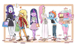 Size: 1024x622 | Tagged: dead source, safe, artist:fishby, applejack, fluttershy, pinkie pie, rainbow dash, rarity, twilight sparkle, human, clothes, dress, humanized, mane six, pony coloring, shopping