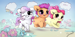 Size: 1000x500 | Tagged: safe, artist:sverre93, apple bloom, scootaloo, sweetie belle, butterfly, earth pony, pegasus, pony, unicorn, crusaders of the lost mark, :3, adorabloom, backwards cutie mark, blushing, bow, chibi, cloud, colored sketch, cute, cutealoo, cutie mark, cutie mark crusaders, diasweetes, female, filly, flower, grass, hair bow, one eye closed, open mouth, smiling, sverre is trying to murder us, sweet dreams fuel, the cmc's cutie marks, weapons-grade cute, wink