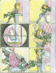 Size: 1024x1340 | Tagged: safe, artist:meiyeezhu, pinkie pie, oc, oc:free lancia, human, anti-aircraft gun, artillery, attempted murder, cannon, comic, crosshair, defeated, female, funny, gun, humanized, humanized ponified human, long range cannon, mercenary, old master q, open mouth, optical sight, owned, parody, partillery, party cannon, pinkie sense, psg1, rifle, scope, sniper, sniper rifle, target, teeth, traditional art, unexpected, weapon