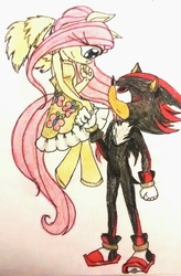 Size: 524x800 | Tagged: safe, artist:ilovedarkhegehogs14, fluttershy, anthro, unguligrade anthro, crossover, fluttershadow, shadow the hedgehog, shipping, sonic the hedgehog (series), sonicified