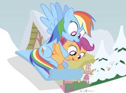 Size: 1000x735 | Tagged: safe, artist:dm29, rainbow dash, scootaloo, pony, advent calendar, duo, holiday horse days, scootalove, sled, sledding, snow
