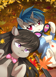Size: 1187x1630 | Tagged: safe, artist:aymint, part of a set, dj pon-3, octavia melody, vinyl scratch, earth pony, pony, unicorn, autumn, autumn leaves, bowtie, cello, clothes, female, leaves, lesbian, mare, musical instrument, on back, scratchtavia, seasons, shipping, underhoof