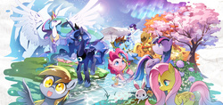 Size: 2288x1080 | Tagged: safe, artist:sweetsound, angel bunny, applejack, derpy hooves, fluttershy, pinkie pie, princess celestia, princess luna, rainbow dash, rarity, twilight sparkle, alicorn, dragonfly, earth pony, pegasus, pony, unicorn, apple, aurora borealis, autumn, chair, cherry blossoms, drink, female, food, lens flare, mane six, mare, outdoors, pixiv, scenery, seasons, spread wings, spring, summer, sunglasses, tree, twilight sparkle (alicorn), umbrella, water, winter