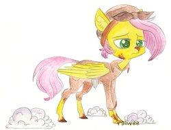 Size: 1393x1064 | Tagged: safe, artist:raiwee, fluttershy, the cutie re-mark, alternate hairstyle, alternate timeline, clothes, crystal war timeline, dirty, female, headscarf, overalls, sad, scarf, scissors, shears, simple background, solo, standing, tired, traditional art, wool