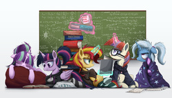 Size: 3000x1715 | Tagged: safe, artist:ncmares, moondancer, starlight glimmer, sunset shimmer, trixie, twilight sparkle, alicorn, pony, unicorn, ask majesty incarnate, :p, alternate hairstyle, blanket, book, calculus, chalkboard, clothes, counterparts, eyes closed, female, finals, floppy ears, fluffy, frown, glare, glasses, goth, hoodie, kilroy, levitation, logic, magic, magical quintet, mare, math, messy mane, nose wrinkle, on back, pillow, ponytail, prone, reading, sitting, sleeping, socks, stockings, striped socks, study group, studying, telekinesis, tired, tongue out, tower of books, twilight sparkle (alicorn), twilight's counterparts, underhoof, unkempt mane, wall of tags, wink