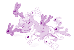 Size: 1280x868 | Tagged: safe, artist:dstears, lily, lily valley, rabbit, applebuck season, adorable distress, bunny stampede, cute, flower, flower in hair, grayscale, leporiphobia, monochrome, simple background, stampede, the horror, white background