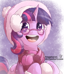 Size: 2000x2300   Tagged: safe, artist:bugplayer, twilight sparkle, alicorn, pony, adorkable, boots, bugplayer is trying to murder us, clothes, cute, dork, earmuffs, female, glasses, hat, mare, scarf, snow, snowfall, solo, twiabetes, twilight sparkle (alicorn), wingding eyes, winter
