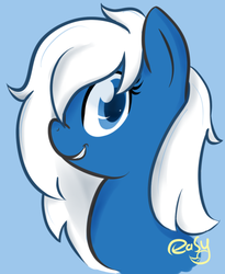Size: 500x611 | Tagged: artist needed, blue background, browser ponies, grin, looking at you, microsoft edge, oc, oc:edge, oc only, safe, simple background, smiling, source needed
