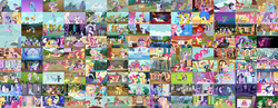 Size: 8000x3115 | Tagged: safe, edit, edited screencap, screencap, angel bunny, apple bloom, applejack, berry punch, berryshine, big macintosh, bon bon, braeburn, carrot cake, carrot top, cheerilee, cherry berry, derpy hooves, diamond tiara, doctor whooves, featherweight, flitter, fluttershy, golden harvest, granny smith, lemon hearts, mayor mare, minuette, ms. harshwhinny, octavia melody, opalescence, owlowiscious, pinkie pie, pipsqueak, pound cake, princess cadance, princess celestia, princess luna, princess platinum, rainbow dash, rarity, sassy saddles, scootaloo, shining armor, silver spoon, smart cookie, spike, sweetie belle, sweetie drops, thunderlane, time turner, tom, trixie, twilight sparkle, twinkleshine, twist, zecora, alicorn, bee, butterfly, dragon, duck, earth pony, frog, pegasus, pony, rabbit, squirrel, unicorn, zebra, a bird in the hoof, a canterlot wedding, a dog and pony show, a friend in deed, amending fences, apple family reunion, applebuck season, appleoosa's most wanted, baby cakes, bats!, bloom and gloom, boast busters, bridle gossip, brotherhooves social, call of the cutie, canterlot boutique, castle mane-ia, castle sweet castle, crusaders of the lost mark, daring don't, do princesses dream of magic sheep, dragon quest, dragonshy, equestria games (episode), fall weather friends, family appreciation day, feeling pinkie keen, filli vanilli, flight to the finish, for whom the sweetie belle toils, friendship is magic, games ponies play, green isn't your color, griffon the brush off, hearth's warming eve (episode), hearthbreakers, hearts and hooves day (episode), hurricane fluttershy, inspiration manifestation, it ain't easy being breezies, it's about time, just for sidekicks, keep calm and flutter on, leap of faith, lesson zero, look before you sleep, luna eclipsed, made in manehattan, magic duel, magical mystery cure, make new friends but keep discord, maud pie (episode), may the best pet win, mmmystery on the friendship express, one bad apple, 