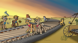 Size: 1796x1000 | Tagged: safe, artist:avastindy, desert, railroad, sunset, telegraph poles, tracks, unshorn fetlocks