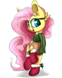 Size: 1400x1750   Tagged: safe, artist:madacon, fluttershy, pegasus, boots, clothes, cute, female, mare, scarf, shyabetes, snow, snowfall, solo, winter, winter outfit