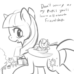 Size: 500x500 | Tagged: safe, artist:mt, applejack, starlight glimmer, twilight sparkle, alicorn, pony, the cutie re-mark, cute, dialogue, female, giant pony, macro, mare, monochrome, open mouth, ponies riding ponies, prone, size difference, sketch, smiling, twilight sparkle (alicorn)