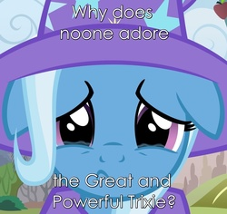 Size: 1000x944 | Tagged: safe, artist:afkrobot, edit, trixie, pony, unicorn, bronybait, female, floppy ears, great and powerful, image macro, mare, meme, question, sad, third person, trixie yells at everything