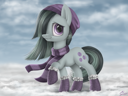 Size: 1600x1200   Tagged: safe, artist:luminousdazzle, marble pie, earth pony, pony, beanie, boots, clothes, cute, female, hat, mare, scarf, solo, winter, winter outfit