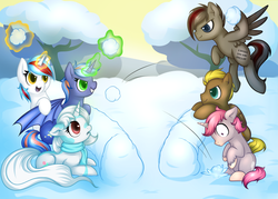 Size: 3498x2502 | Tagged: safe, artist:kinga, oc, oc only, oc:audina puzzle, oc:celery, oc:elondras, oc:intrepid charm, oc:jare, oc:starlight heart, alicorn, bat pony, pegasus, pony, unicorn, alicorn oc, floppy ears, flying, frown, hoof hold, levitation, magic, prone, smirk, snow, snowball, snowball fight, spread wings, telekinesis, throwing, wide eyes, winter