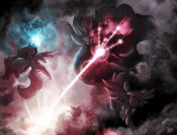 Size: 1400x1068 | Tagged: safe, artist:pilla, lord tirek, princess celestia, pegasus, pony, beam, cloud, energy blast, epic, explosion, fight, flying, glow, glowing eyes, glowing horn, magic, size difference