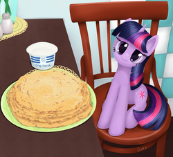 Size: 2777x2520   Tagged: safe, artist:galekz, twilight sparkle, behaving like a cat, chair, crepe, cute, female, food, head tilt, i'm pancake, kitchen, kot blini, lidded eyes, looking at you, pancakes, parody, ponified animal photo, russian, sitting, smiling, solo, sour cream