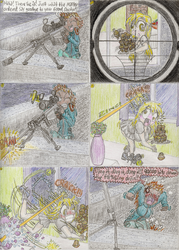 Size: 1024x1430 | Tagged: safe, artist:meiyeezhu, derpy hooves, human, .50 cal, aiming, apartment, assassin, attempted murder, bang, barrett, barrett m82, breasts, broken glass, broken window, busty derpy hooves, clothes, comic, crosshair, dining room, female, food, funny, glass, gun, humanized, humanized ponified human, mercenary, miniskirt, missed it by that much, muffin, night, old master q, optical sight, parody, pleated skirt, rifle, roof, scope, shirt, skirt, slapstick, slipping, sniper, sniper rifle, sure-shooter, tennis ball, traditional art, vase, weapon, whoops, window