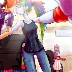 Size: 2100x2100 | Tagged: safe, artist:manic-the-lad, rainbow dash, twilight sparkle, equestria girls, a dash of everything, clothes, cute, dashabetes, dashblitz, double rainbow, female, humanized, jealous, kiss on the cheek, kissing, male, mall, rainbow blitz, rule 63, self ponidox, selfcest, selfie, shipping, straight, tanktop