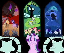 Size: 4000x3333 | Tagged: safe, artist:hfinder, applejack, fluttershy, king sombra, nightmare moon, pinkie pie, queen chrysalis, rainbow dash, rarity, starlight glimmer, twilight sparkle, zecora, alicorn, bat pony, pony, zebra, the cutie re-mark, alternate timeline, applecalypsejack, chrysalis resistance timeline, crystal war timeline, dystopia, female, mare, night guard dash, night maid rarity, nightmare takeover timeline, pointy ponies, resistance leader zecora, stained glass, tribal pie, tribalshy, twilight sparkle (alicorn)