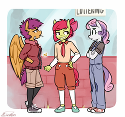 Size: 900x837 | Tagged: safe, artist:siden, apple bloom, scootaloo, sweetie belle, oc, oc only, oc:apple spritzer, oc:marble, oc:plume, anthro, alternate universe, clothes, converse, cutie mark crusaders, manehattan city mavericks, shoes, ultimare universe