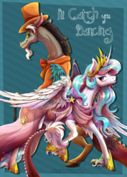 Size: 1200x1675 | Tagged: safe, artist:stepandy, discord, princess celestia, comic:i'll catch you dancing, bedroom eyes, cane, clothes, comic, cover, dialogue, dislestia, dress, eye contact, female, hat, male, raised hoof, realistic horse legs, shipping, straight, top hat
