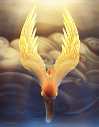 Size: 1200x1527 | Tagged: safe, artist:viwrastupr, spitfire, cloud, crepuscular rays, large wings, solo, sun