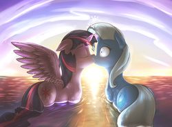 Size: 1400x1032   Tagged: safe, artist:shydale, trixie, twilight sparkle, alicorn, pony, blushing, female, heart, horns are touching, kissing, lesbian, mare, ocean, plump, shipping, sunset, surprise kiss, surprised, twilight sparkle (alicorn), twixie, water, wide eyes, wingboner