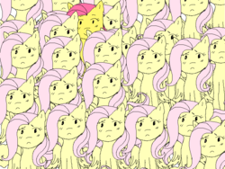 Size: 800x600 | Tagged: safe, artist:ponynamedrp, fluttershy, pegasus, pony, female, looking at you, mare, mood contrast, multeity, one of these things is not like the others, self ponidox, smiling, so much flutter