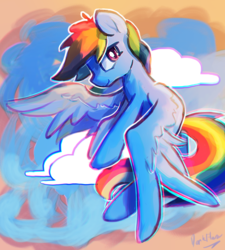 Size: 2323x2581 | Tagged: artist:darkflame75, cloud, female, flying, mare, pegasus, pony, rainbow dash, safe, solo