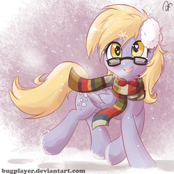 Size: 2300x2300 | Tagged: safe, artist:bugplayer, derpy hooves, pegasus, pony, blushing, bowtie, bugplayer is trying to murder us, clothes, cute, derpabetes, earmuffs, female, fourth doctor's scarf, glasses, heart eyes, looking at you, mare, scarf, smiling, snow, snowfall, snowflake, solo, wingding eyes, winter