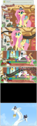 Size: 1104x3753 | Tagged: safe, artist:grievousfan, discord, fluttershy, pigeon, behaving like a cat, comic, dialogue, hissing, statue