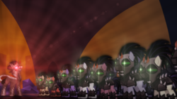 Size: 2560x1440 | Tagged: safe, artist:aelioszero, king sombra, the cutie re-mark, alternate timeline, crystal empire, crystal war timeline, lens flare, mind control, shiny, sombra empire, sombra soldier, wallpaper