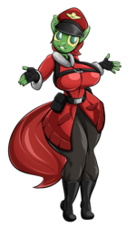 Size: 1152x1920 | Tagged: safe, artist:sanders, oc, oc only, oc:kazlee, anthro, boots, clothes, earring, hat, jacket, leggings, looking at you, piercing, solo, team captain, team fortress 2