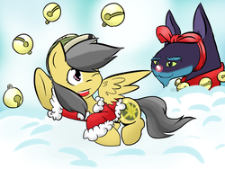 Size: 1024x768 | Tagged: 12 days of christmas, ahuizotl, artist:shujiwakahisaa, daring do, darizotl, female, male, mare, pegasus, pony, safe, shipping, straight