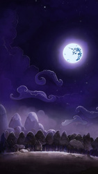 Size: 1920x3404 | Tagged: safe, artist:cmaggot, artist:simbaro, lullaby for a princess, cloud, field, forest, glow, hill, mare in the moon, moon, mountain, night, no pony, rock, scenery, scenery porn, sky, stars, tree