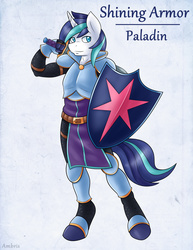 Size: 1275x1650   Tagged: safe, artist:ambris, shining armor, unicorn, anthro, unguligrade anthro, adventuring is magic, armor, colored pupils, fantasy class, knight, looking at you, male, paladin, shield, solo, sword, warrior, weapon