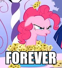 Size: 214x235 | Tagged: safe, edit, edited screencap, screencap, pinkie pie, twilight sparkle, earth pony, pony, unicorn, green isn't your color, cropped, female, forever, image macro, impact font, mare, meme, pinkie being pinkie, pinkie physics, solo, sponge, unicorn twilight