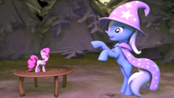Size: 4096x2304 | Tagged: safe, artist:oc1024, pinkie pie, trixie, pony, unicorn, 3d, cape, clothes, female, hat, laughing, mare, micro, pose, small, source filmmaker, table, trixie's cape, trixie's hat