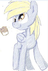 Size: 240x352 | Tagged: safe, artist:yoditax, derpy hooves, pegasus, pony, female, food, mare, muffin, scrunchy face, sketch, solo