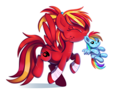 Size: 1280x971 | Tagged: artist:pepooni, eyes closed, mouth hold, oc, oc:fire strike, plushie, rainbow dash, safe
