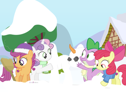 Size: 1000x735   Tagged: safe, artist:dm29, apple bloom, scootaloo, spike, sweetie belle, pony, advent calendar, cutie mark crusaders, holiday horse days, snowmare, snowpony