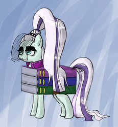 Size: 600x649   Tagged: safe, artist:deusexequus, coloratura, earth pony, pony, the mane attraction, :t, abstract background, clothes, countess coloratura, female, mare, pun, rar, solo, veil, visual pun, winrar