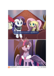 Size: 3541x5016 | Tagged: safe, artist:gashiboka, doctor whooves, fluttershy, rarity, roseluck, time turner, twilight sparkle, alicorn, pony, comic:recall the time of no return, comic, female, mare, patreon, patreon logo, twibitch sparkle, twilight sparkle (alicorn)