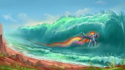 Size: 1920x1080   Tagged: dead source, safe, artist:shamanguli, rainbow dash, female, flying, rainbow trail, scenery, solo, water, wave