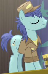 Size: 328x506 | Tagged: safe, screencap, deep clean, bloom and gloom, background pony, eyes closed, solo