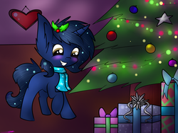 Size: 2000x1500   Tagged: safe, artist:ashee, oc, oc only, oc:starlight blossom, blushing, hearth's warming eve, present, tree