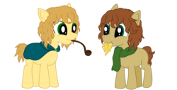 Size: 1400x711 | Tagged: safe, artist:valichan, merry, chewing, hay, lord of the rings, meriadoc brandybuck, peregrin took, pipe, pippin, ponified, tolkien